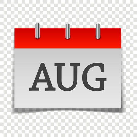 Calendar month August icon on gray and red color on transparent background.  Layers grouped for easy editing illustration.  For your design. 일러스트