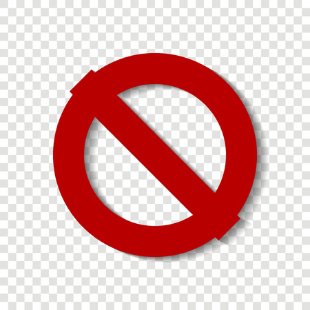 Stop vector icon.The crossed-out circle. Red stop sign. Warning sign on a transparent background.  Layers grouped for easy editing illustration.  For your design.