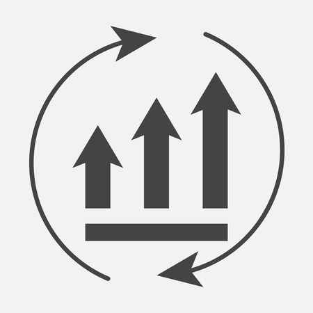 Growth graph with arrows in a circle. Vector business icon schedule.  Layers grouped for easy editing illustration. For your design. Illustration