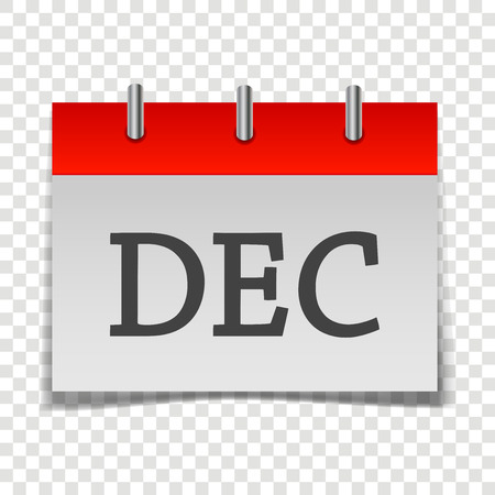 Calendar month December icon on gray and red color on transparent background.  Layers grouped for easy editing illustration.  For your design.