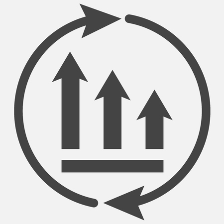 The graph of the decline with the arrows in a circle. Vector business icon schedule. Layers grouped for easy editing illustration. For your design.