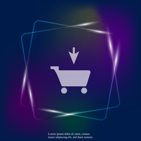 Shopping cart neon light icon. Vector illustration cart. Layers grouped for easy editing illustration. For your design. Ilustracje wektorowe