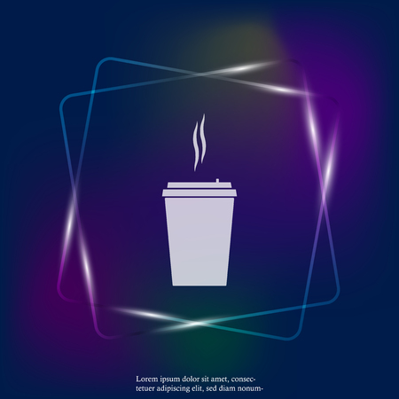 Vector neon light icon of a disposable cup of coffee. A stale coffee drink in the dishes.  Layers grouped for easy editing illustration. For your design