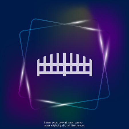 Vector neon light fence icon.  Layers grouped for easy editing illustration. For your design.