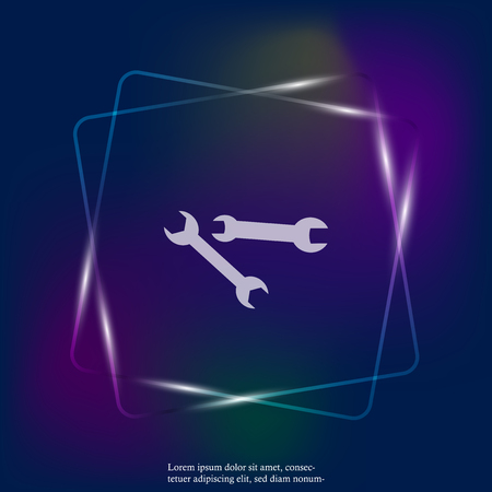 Vector neon light  image of a wrench. Vector icon depicting a wrench. Layers grouped for easy editing illustration. For your design Illustration