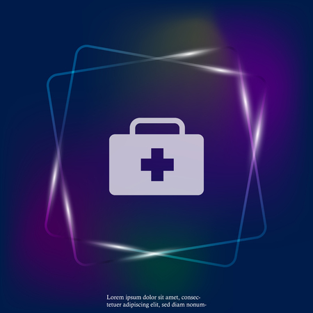 Vector neon light icon indicates the presence of first-aid. Doctor. First Aid Kit. Layers grouped for easy editing illustration. For your design. Ilustração