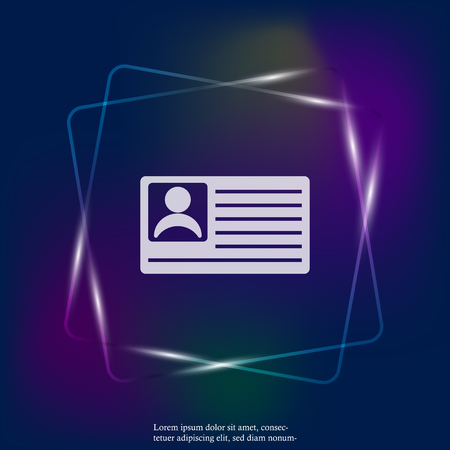 Vector neon light icon person card, customer card. Vector illustration of a identification badge with a photo. Layers grouped for easy editing illustration. For your design.