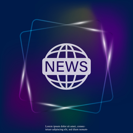 Vector neon light icon set world news.Image inscription news on the globe. Layers grouped for easy editing illustration. For your design.