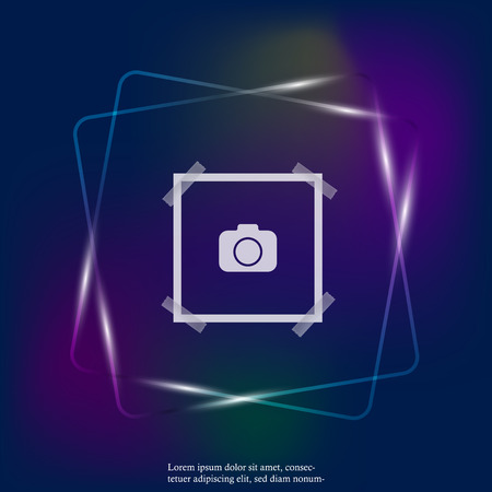 Vector neon light image of a square frame for photos. Icons of an empty realistic photo frame. Layers grouped for easy editing illustration. For your design.