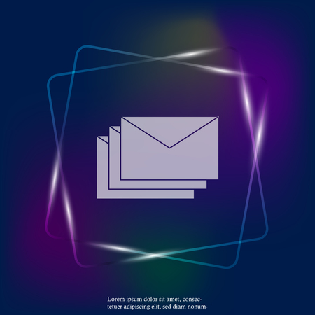 Vector neon light icon of envelope. Paper envelope flies to the destination. Message icon in the mail.  Layers grouped for easy editing illustration. For your design.