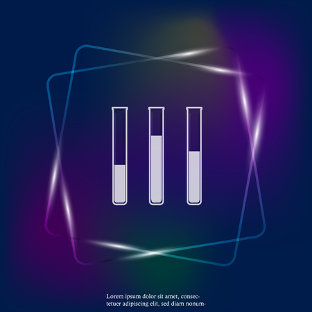Vector neon light icon of medical pharmaceutical bulb. Flasks for chemical experiments. Laboratory Flask. Layers grouped for easy editing illustration. For your design.