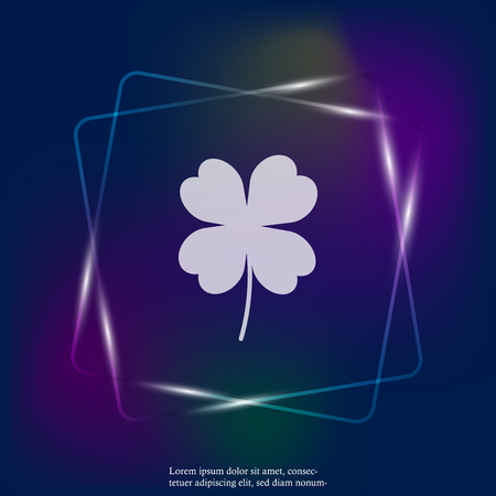 Vector neon light icon four-leafed clover. Layers grouped for easy editing illustration. For your design. Illustration