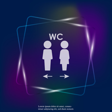 Vector neon light icon of toilet. Plate on the door wc. Layers grouped for easy editing illustration. For your design. Stock Illustratie