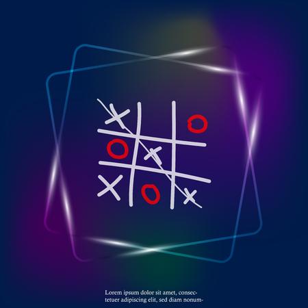 Image vectorielle au néon d'un jeu de croix et de tic-tac-toe dessinés à la main. Couches regroupées pour une édition facile de l'illustration. Pour votre conception.