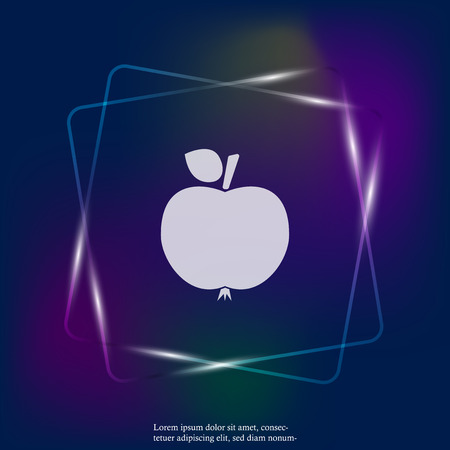 Apple neon light icon. Vector icon illustration apple. Layers grouped for easy editing illustration. For your design.