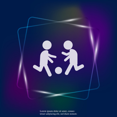 Vector icon man playing ball. Soccer player. Football player neon light. Layers grouped for easy editing illustration. For your design.