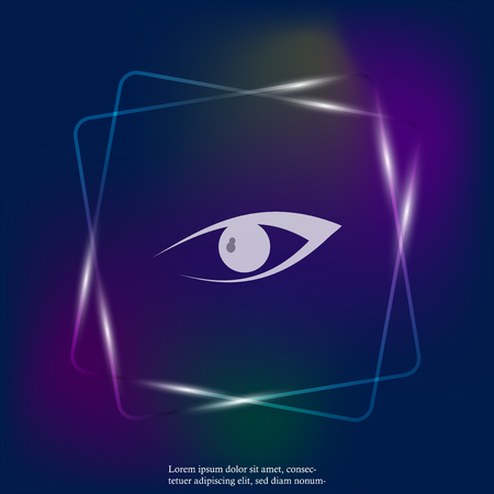 Vector Eye neon light icon. Layers grouped for easy editing illustration. For your design.