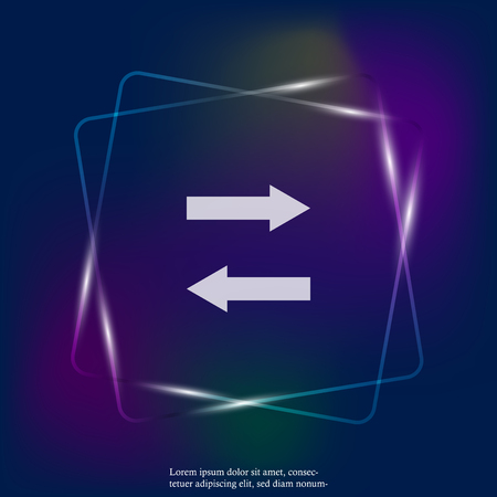 Horizontal arrows vector neon light icon. Exchange symbol and horizontal reflection. Layers grouped for easy editing illustration. For your design.