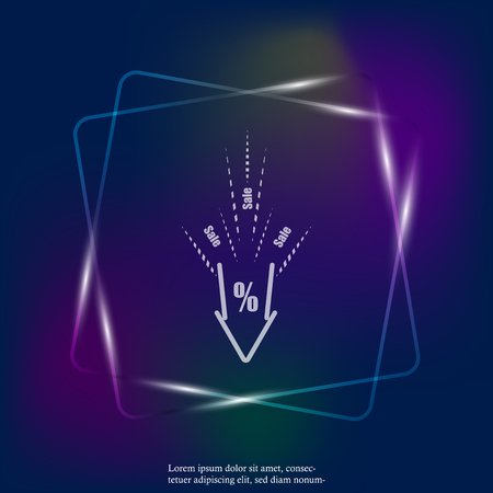 Vector neon light icon of falling prices. Discounts. Sale in the store. The collapse of the price. The percent sign. The pointing down. Layers grouped for easy editing illustration. For your design