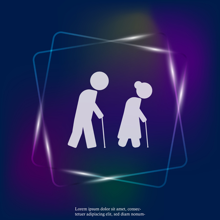 Vector neon light icon of pensioners. Elderly people with cane. Layers grouped for easy editing illustration. For your design. Illustration