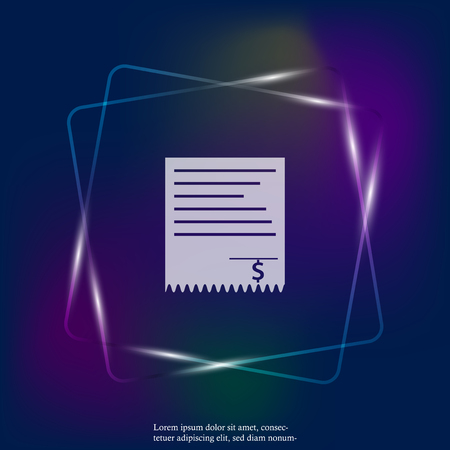 Bill vector neon light icon. Layers grouped for easy editing illustration. For your design