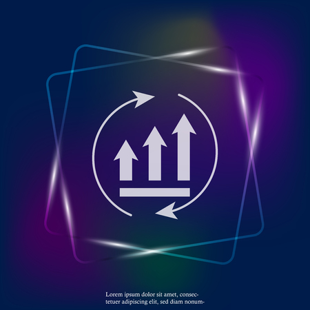 Growth graph with arrows in a circle. Vector business neon light icon schedule. Layers grouped for easy editing illustration. For your design. Stock Illustratie