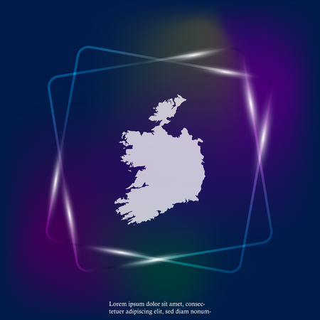 Vector neon light icon map of Republic of Ireland. Layers grouped for easy editing illustration. For your design.