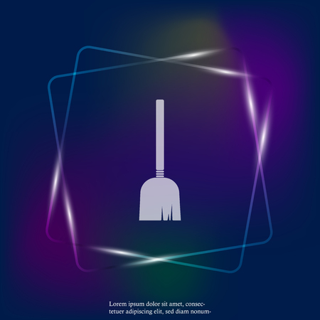 Vector neon light image of a broom or a mop. Vector illustration broom. Layers grouped for easy editing illustration. For your design