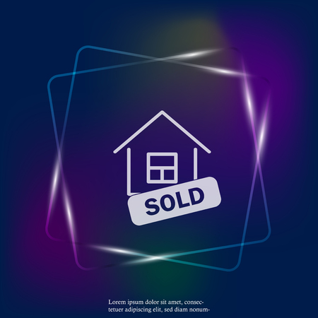 Sold house vector neon light icon. Business illustration. Layers grouped for easy editing illustration. For your design.
