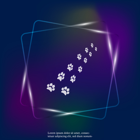 Vector neon light icon animal paw imprint. Paw set illustration. Layers grouped for easy editing illustration. For your design