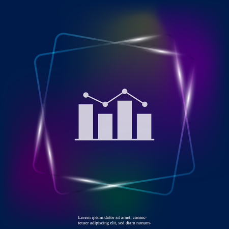 Business chart of income and expenses neon light vector icon. Layers grouped for easy editing illustration. For your design. Stock Illustratie
