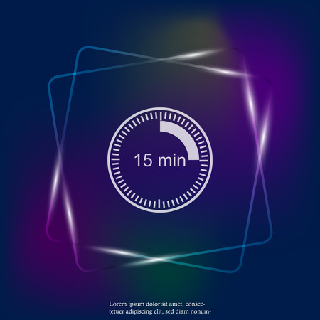 Clock neon light icon indicating the time interval of 15 minutes. Fifteen minutes time on the clock. Layers grouped for easy editing illustration. For your design. Illustration
