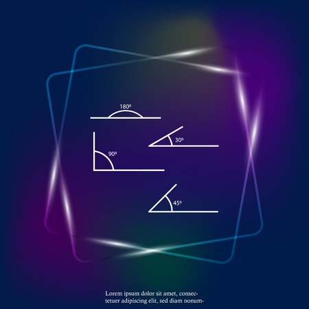 Angle of 180, 45,30,90 degrees vector neon light illustration. The symbol of geometry, mathematics. Set of vector icons consisting of angles of different degrees. Layers grouped for easy editing illustration. For your design.
