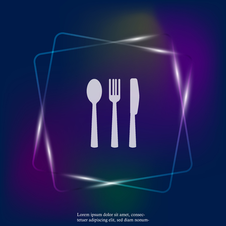 Knife, fork, spoon. Cutlery. Table setting. Vector neon light icon illustration. Layers grouped for easy editing illustration. For your design. Stock Illustratie