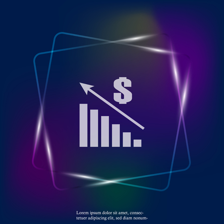 Vector image of a chart of financial growth. Finance raising neon light icon, money increase. Sales increase. Layers grouped for easy editing illustration. For your design.
