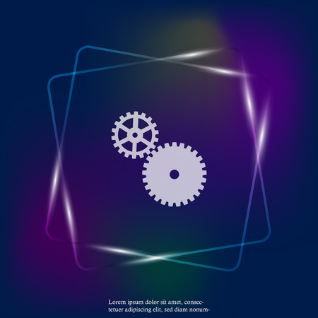 Vector neon light icon two gears. Illustration gears in motion. Layers grouped for easy editing illustration. For your design.