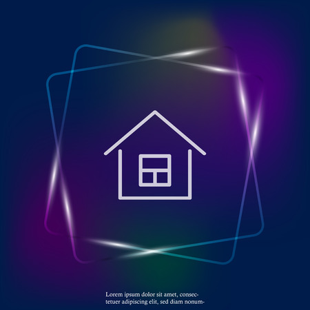 House vector neon light icon. Home symbol. Layers grouped for easy editing illustration. For your design.