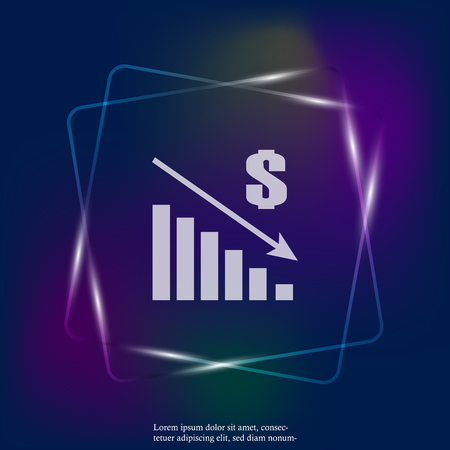 Vector image diagram of decline, recession. Icon neon light financial crisis. Drop in sales. Layers grouped for easy editing illustration. For your design. Stock Illustratie