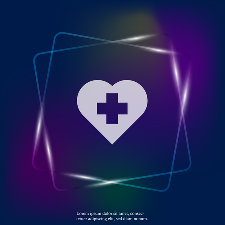 Vector neon light icon of the cross in the heart. Vector illustration of medicine on health care. Layers grouped for easy editing illustration. For your design. Stock Illustratie