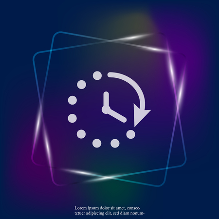 Clock vector neon light icon. Symbol countdown. Layers grouped for easy editing illustration. For your design.