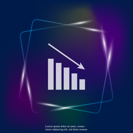 Business chart of income and expenses neon light vector icon. Layers grouped for easy editing illustration. For your design