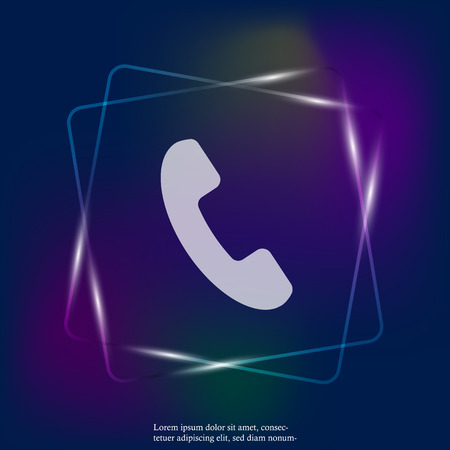 Phone vector icon on flat style. Handset neon light. Layers grouped for easy editing illustration. For your design.