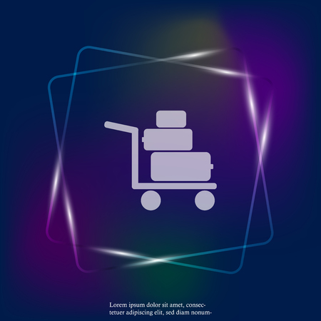 Vector neon light icon shows the presence of porters. Trolley with things, suitcases. Layers grouped for easy editing illustration. For your design.