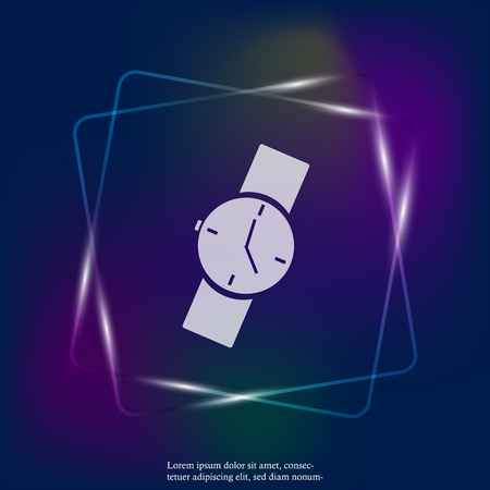 Vector neon light image of a wristwatch. Clock icon. Layers grouped for easy editing illustration. For your design.