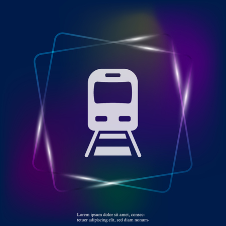 Vector subway neon light icon. Illustration of metro icon. Layers grouped for easy editing illustration. For your design.