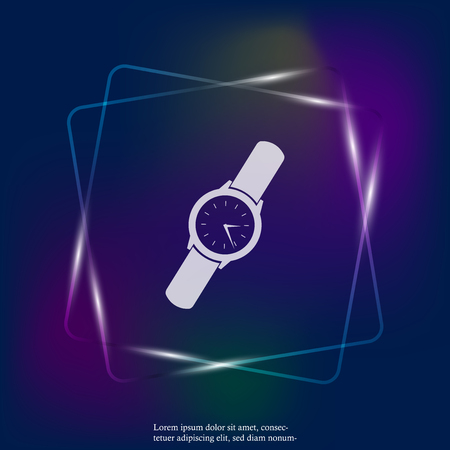 Men's classic wrist watch. Clock neon light  icon. Vector Clock Icon. Layers grouped for easy editing illustration. For your design. Illustration