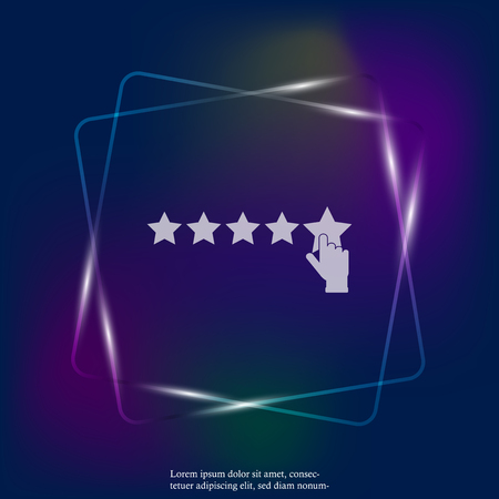 Vector neon light icon of customer feedback. The client's hand clicks on the asterisk. Customer  positive review. Layers grouped for easy editing illustration. For your design. Banque d'images - 114157189