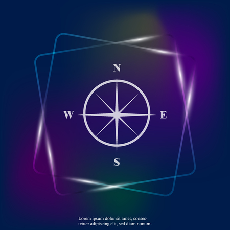 Vector neon light icon compass with indication sides of the world. Illustration compass symbol for determining the sides of the world. Layers grouped for easy editing illustration. For your design.