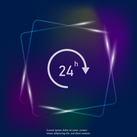 Vector image round the clock. 24 hours. Time neon light icon. Business concept pictogram. Layers grouped for easy editing illustration. For your design.