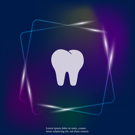 Vector tooth neon light icon. Dentistry illustration. Layers grouped for easy editing illustration. For your design. Stock Illustratie